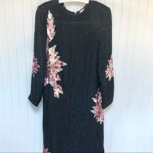 Dresses & Skirts - Vintage Long 100% Silk Sequin Beaded Silk Dress